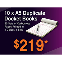 10 x A5 Duplicate Docket Books