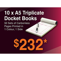 10 x A5 Triplicate Docket Books
