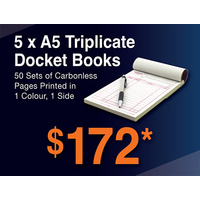 5 x A5 Triplicate Docket Books