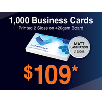 1,000 x Business Cards - 420gsm - Matt Lamination 1 side