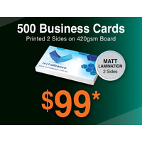 500 x Business Cards - 420gsm - Matt Lamination 2 sides