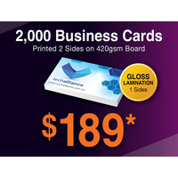 2,000 x Business Cards - 420gsm - Gloss Lamination 2 sides